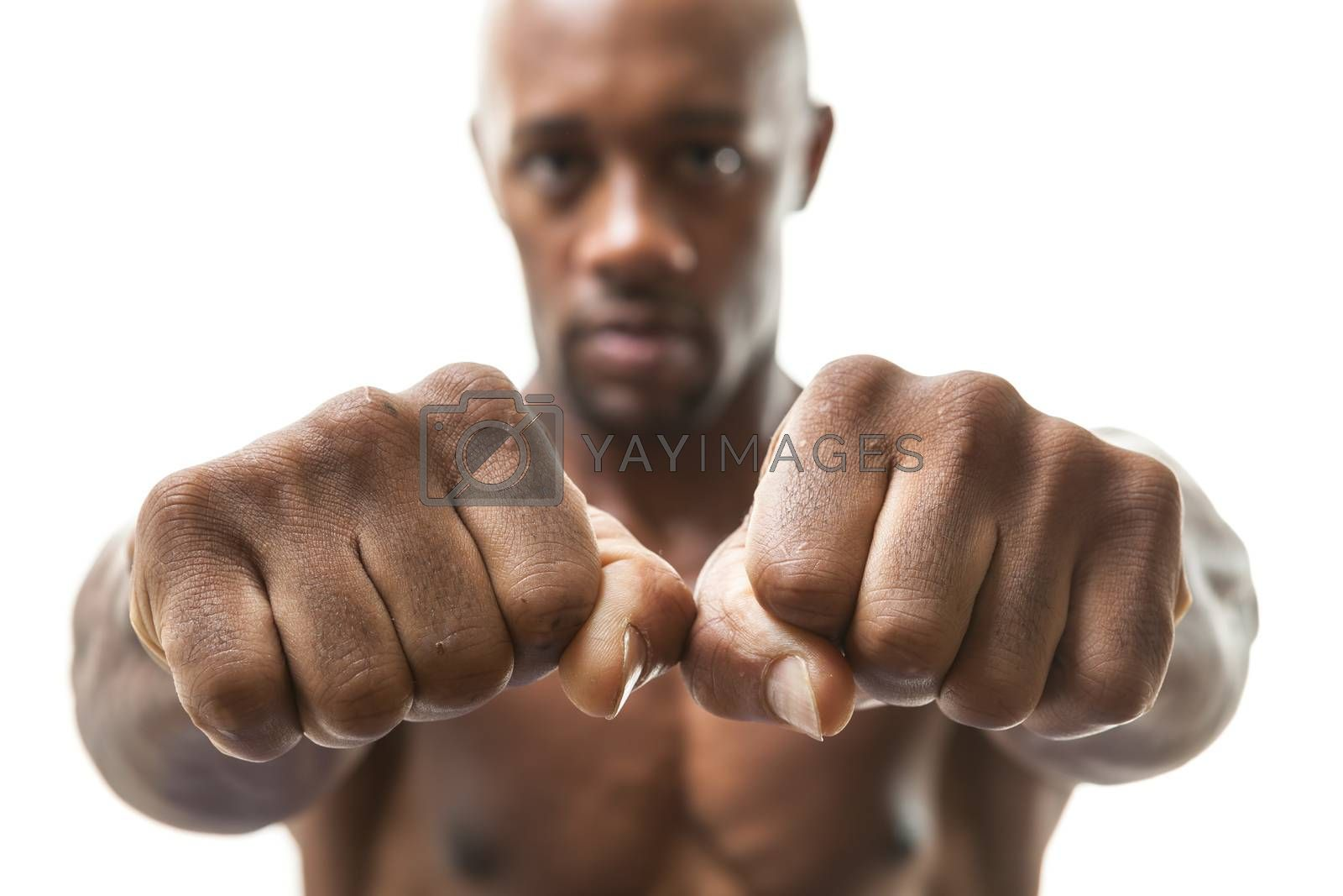 Royalty free image of Man Showing Fists and Knuckles by graficallyminded