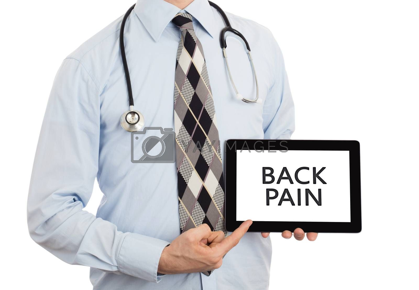 Doctor, isolated on white backgroun,  holding digital tablet - Back pain