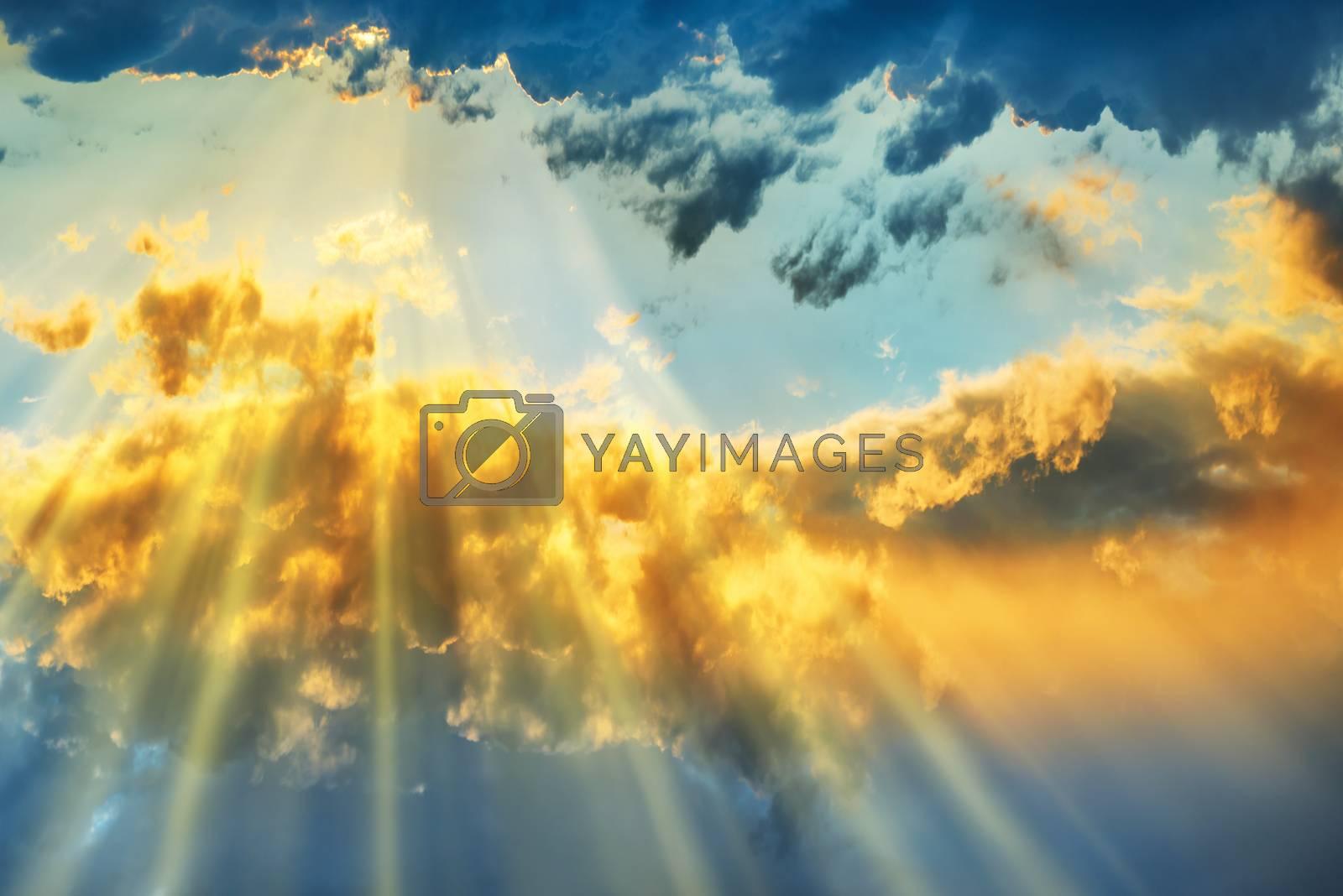 Sunset over beautiful blue sky by vapi
