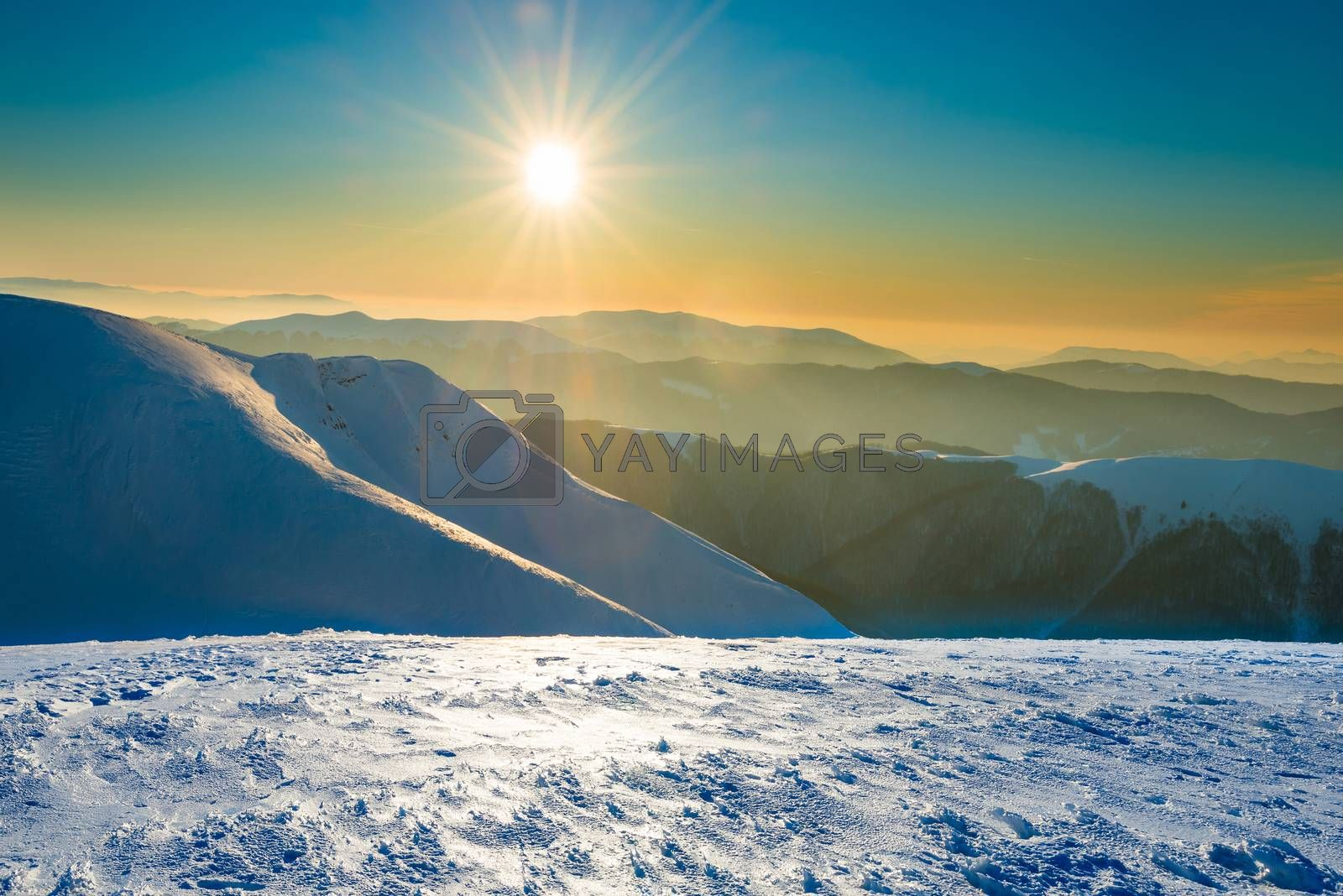 Royalty free image of Sunset in winter mountains by vapi