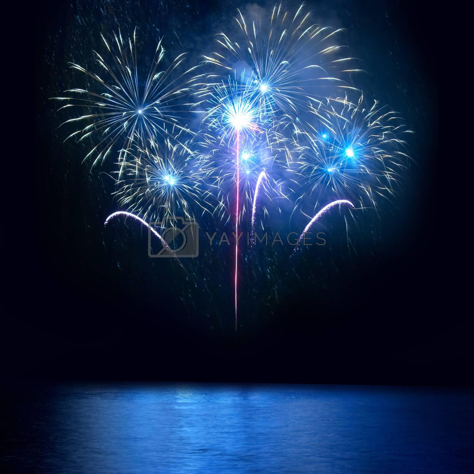 Blue fireworks by vapi