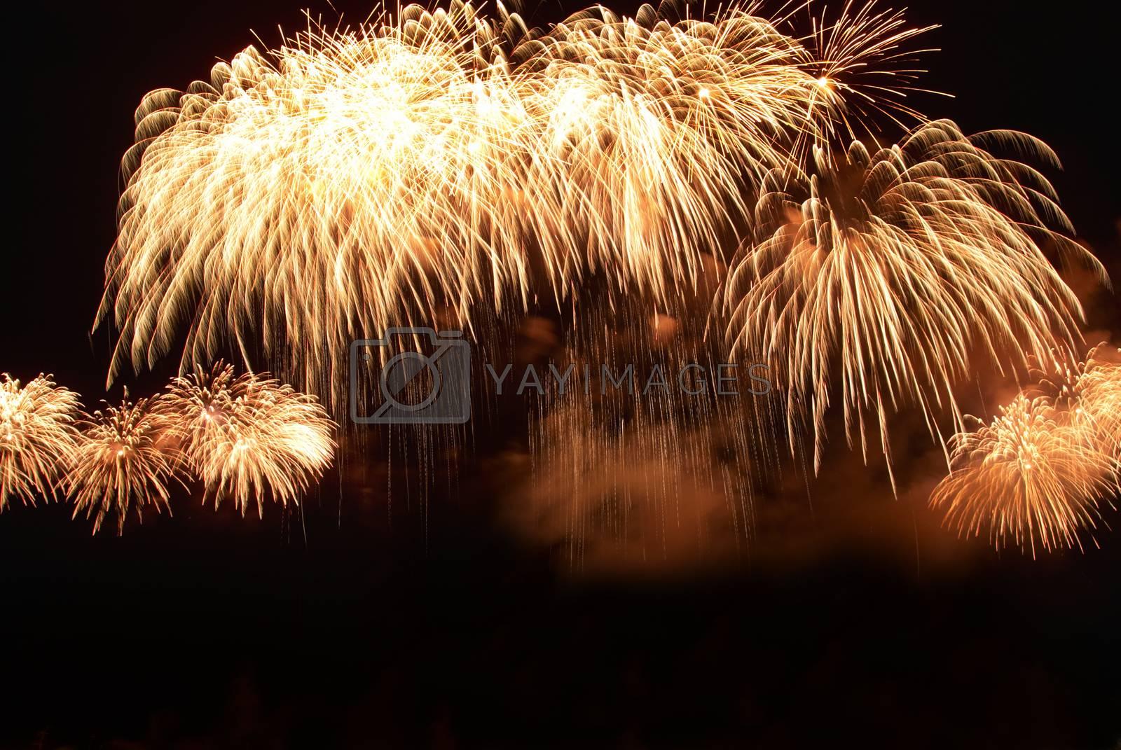 Colorful orange fireworks on the black sky background