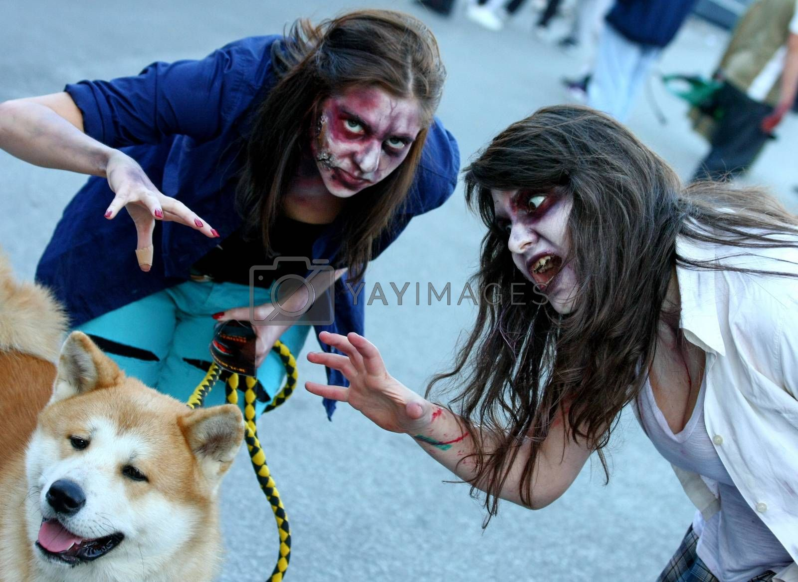 Participants with different masks in Zombie walk within reeling of the Festival of Serbian fiction movies held in Belgrade,Serbia,21.October2012.