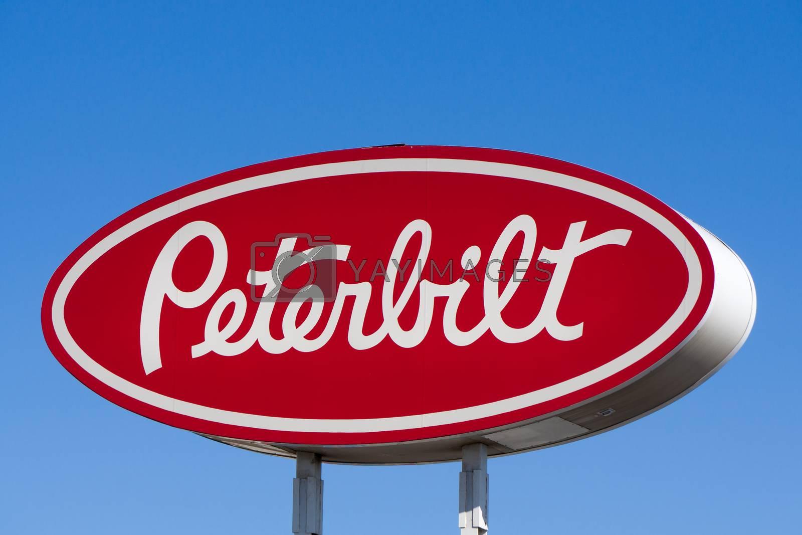 SAN FERNANDO, CA/USA - APRIL 16, 2016: Peterbilt sign and logo. Peterbilt Motors Company is an American manufacturer of medium and heavy trucks.