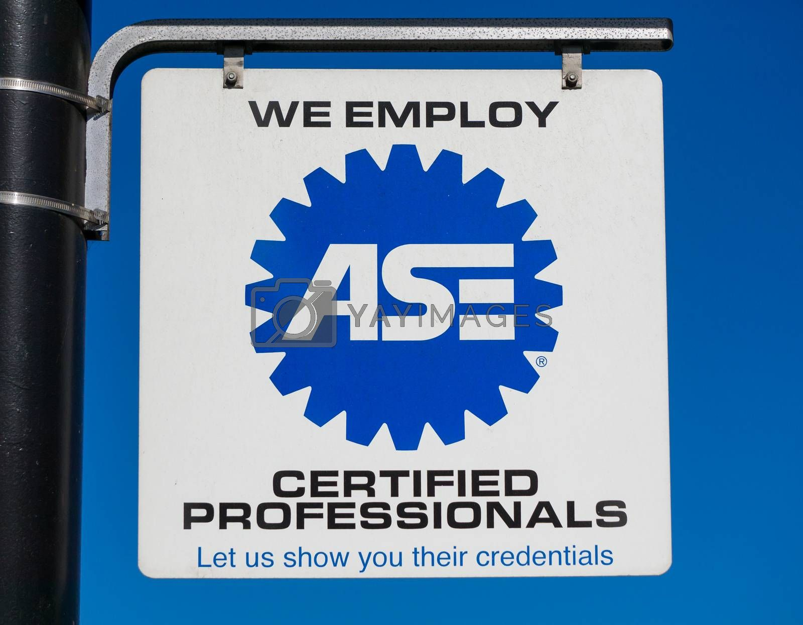 PASADENA, CA/USA - APRIL 16, 2016: ASE sign and logo. The National Institute for Automotive Service Excellence is a professional certification group that certifies professionals and auto repair shops.