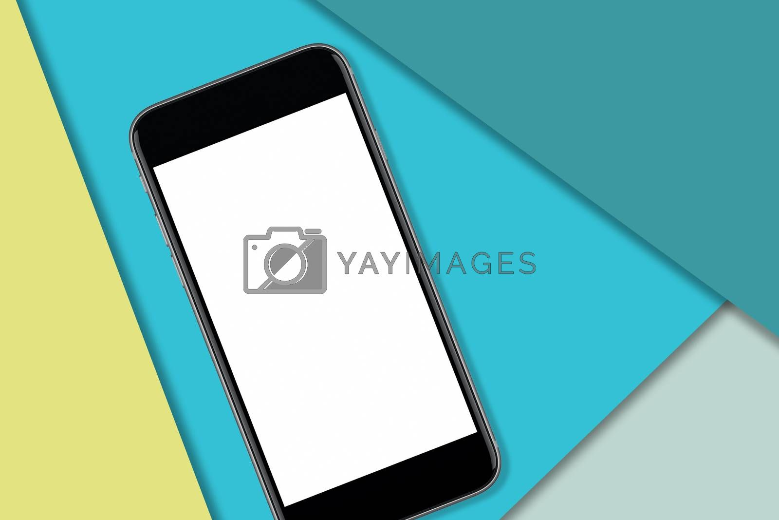 Black smart phone with blank screen to add design or copy. Colorful material design in the background