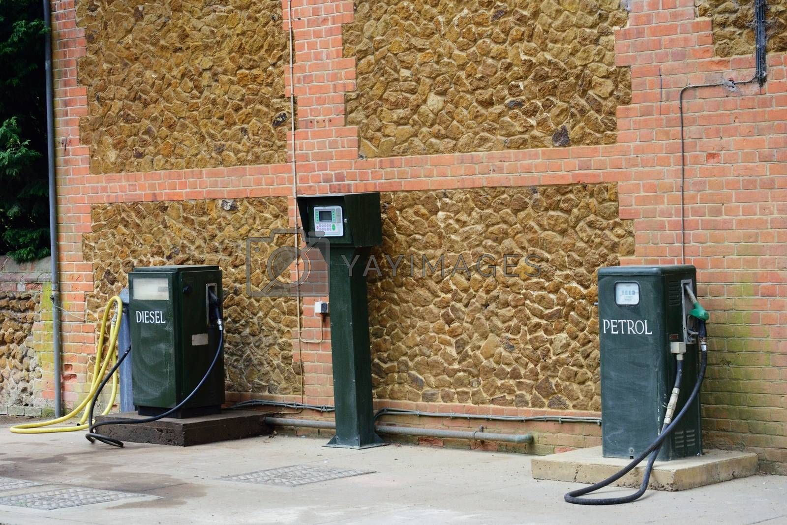 Vintage green Petrol and Diesel pumps