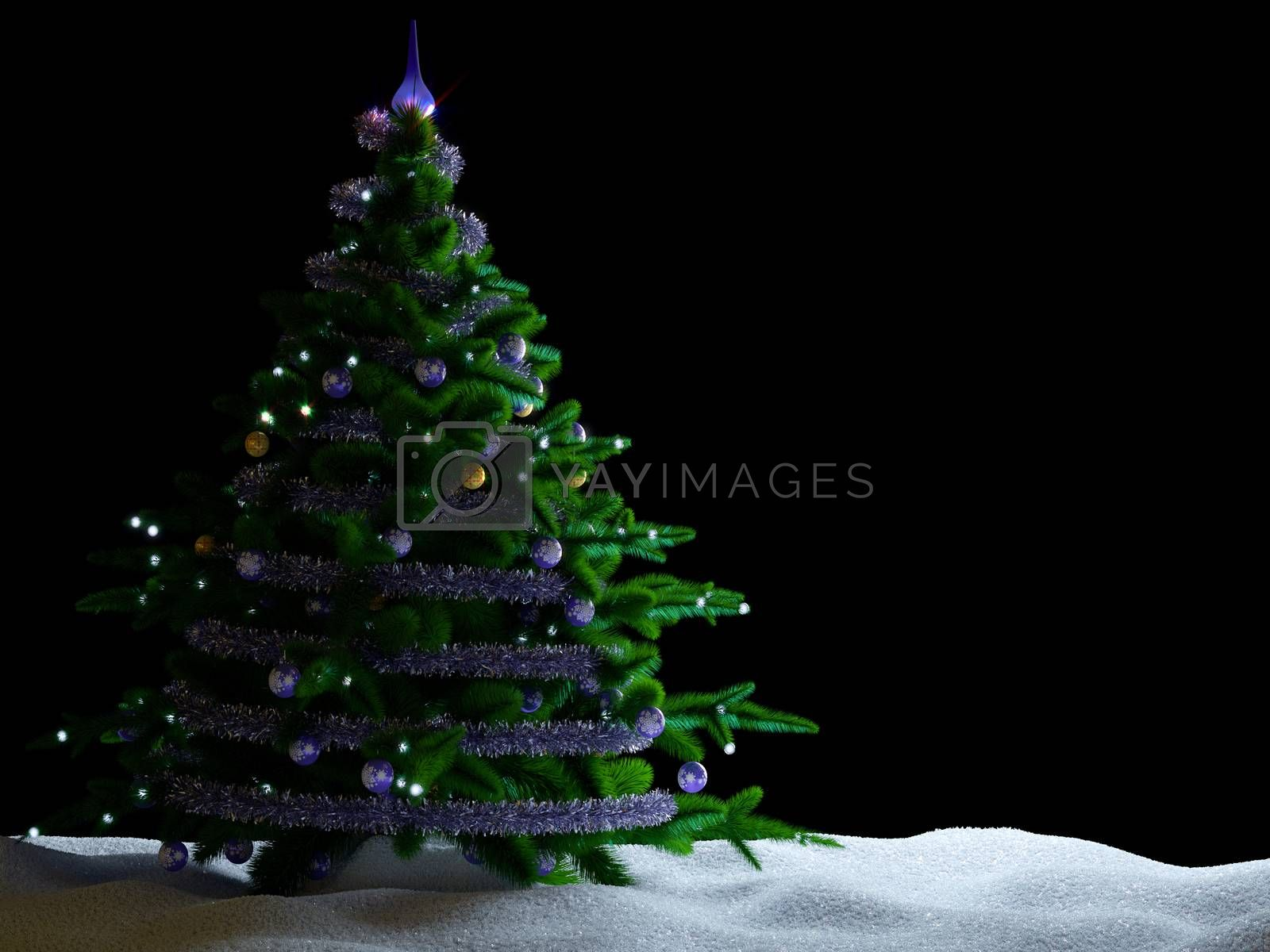 Christmas tree with decorations and snow on isolate black background.