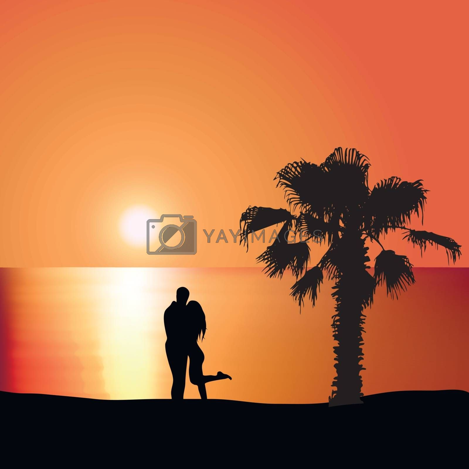 Man embraces woman on the seashore at sunset