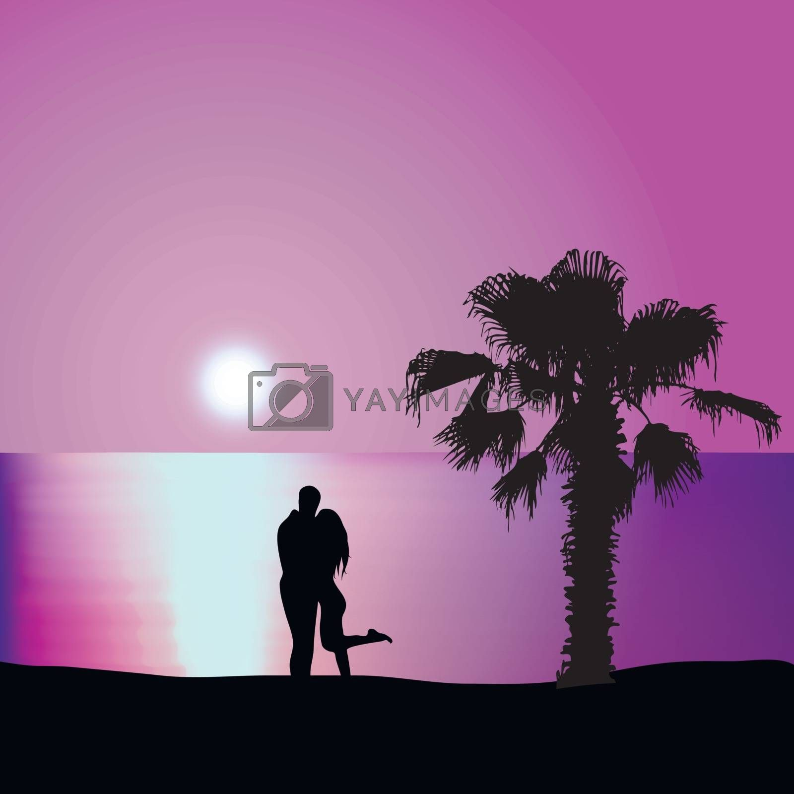 Man embraces woman on the seashore at night