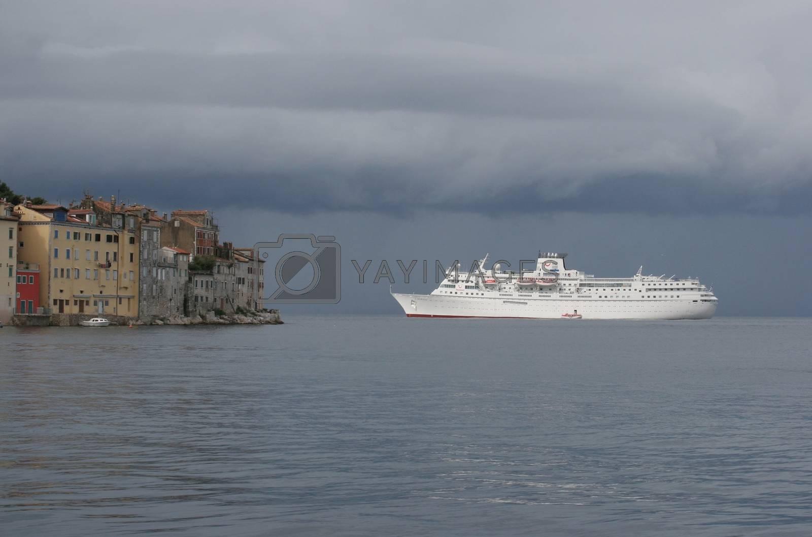 Cruiser in front of Rovinj, Istria, Croatia