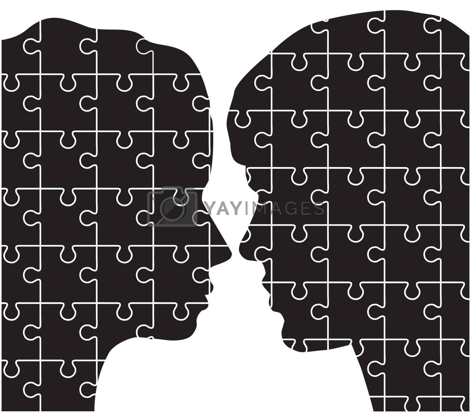 vector illustration of man woman head puzzles