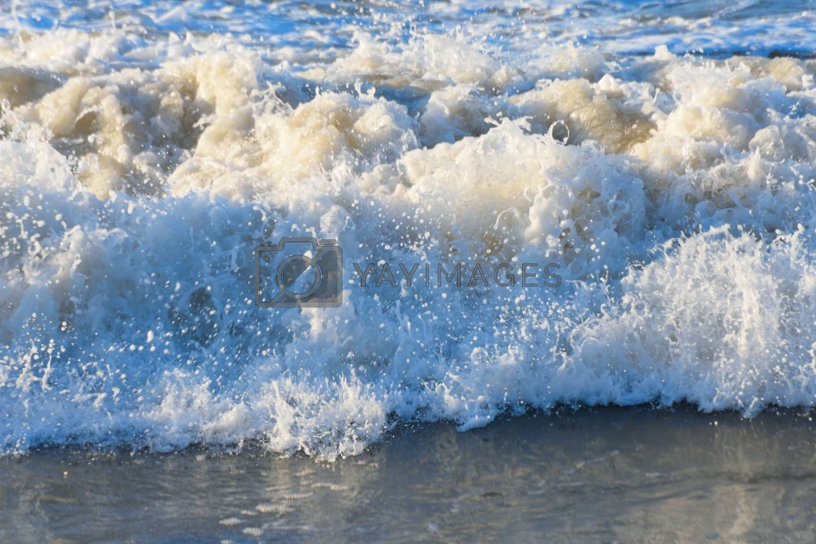 Detail of wave breaking onshore