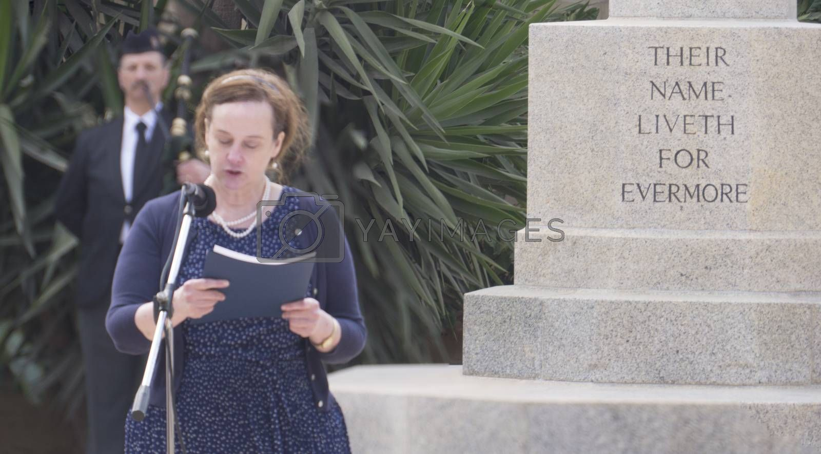 MALTA, Marsa: A woman reads in front of a memorial, for Anzac Day on April 25, 2016, in Malta.The Wreath laying ceremony takes place on the anniversary of the first major military action fought by Australian and New Zealand forces during World War I. Thousands of woundedAustralians, New Zealanders, Canadians and English were sent to the tiny Mediterranean island for care during theGallipolicampaign. ANZAC stands for Australian and New Zealand Army Corps.