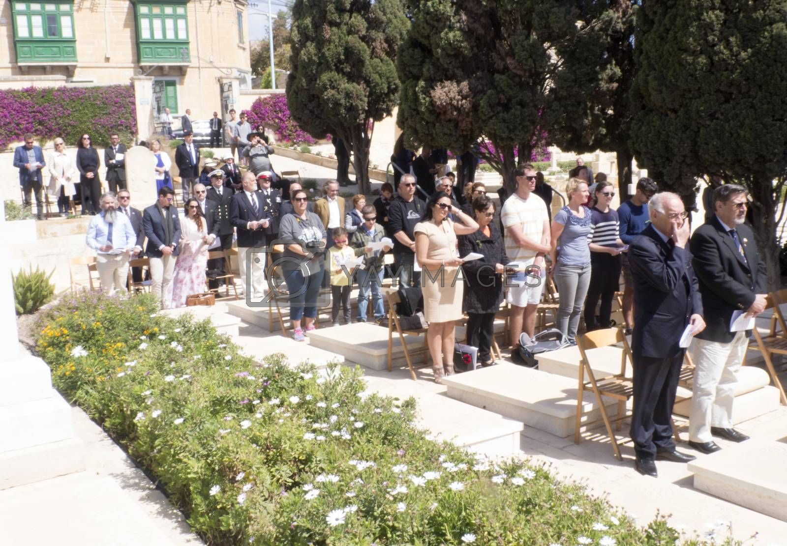 MALTA, Marsa: People gather to watch the ceremonies for Anzac Day on April 25, 2016, in Malta.The Wreath laying ceremony takes place on the anniversary of the first major military action fought by Australian and New Zealand forces during World War I. Thousands of woundedAustralians, New Zealanders, Canadians and English were sent to the tiny Mediterranean island for care during theGallipolicampaign. ANZAC stands for Australian and New Zealand Army Corps.
