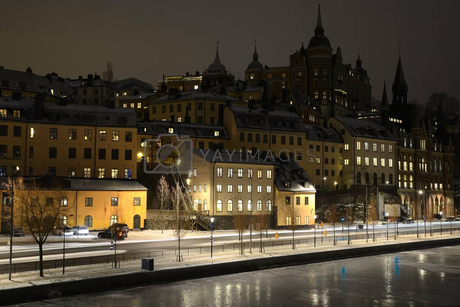 Stockholm embankment at night.