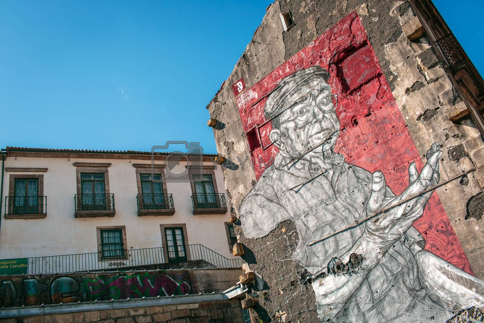 Murales on a building in the city of Porto, Portugal