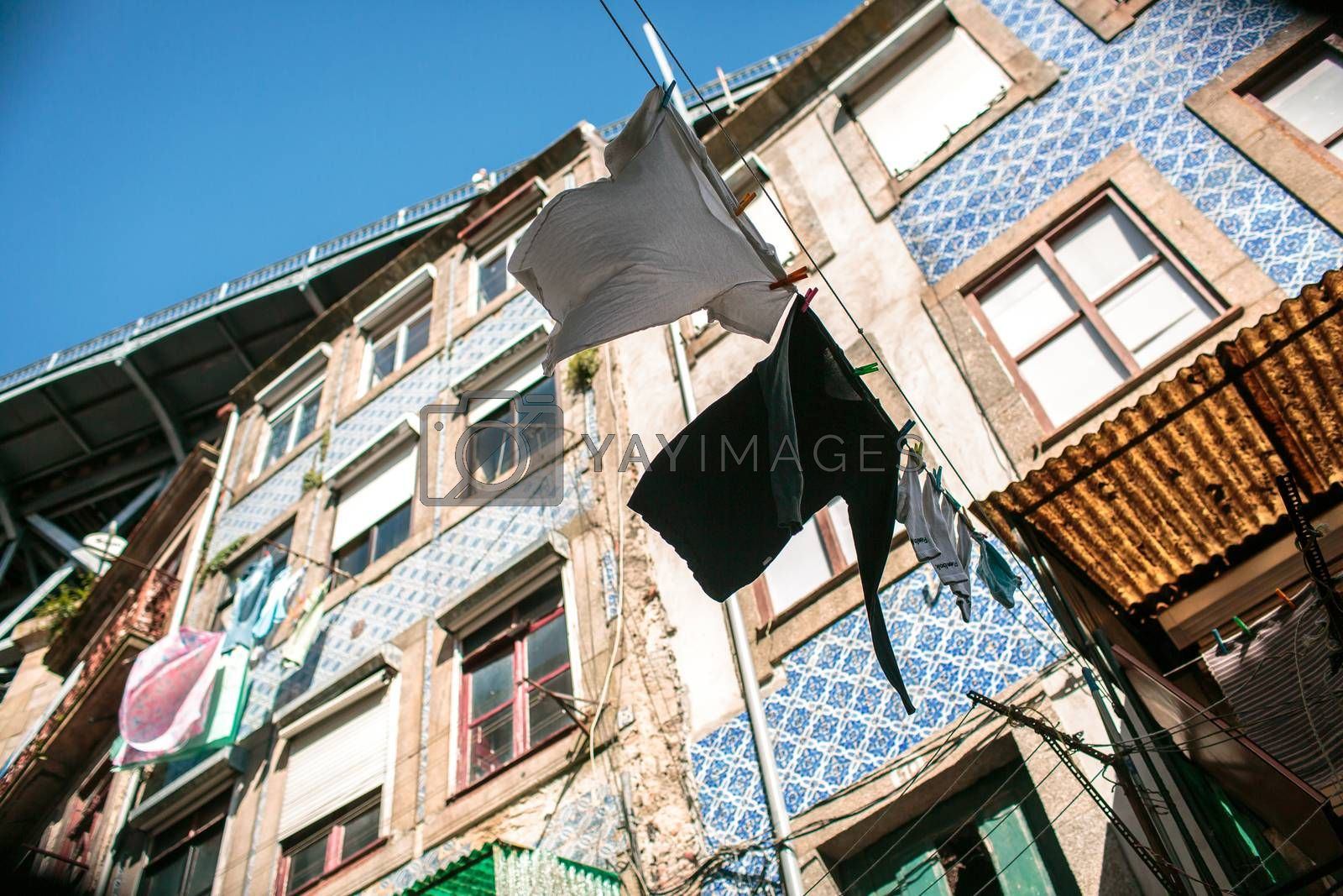 Hanging clothes in the city of Porto, Portugal