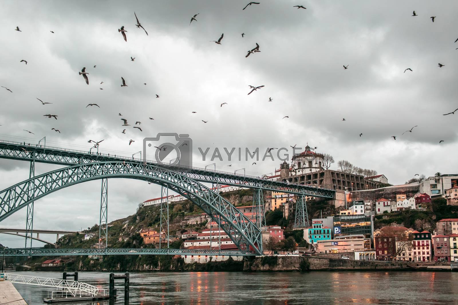 Dom Luis bridge in Porto, the beautiful city on the north of Portugal