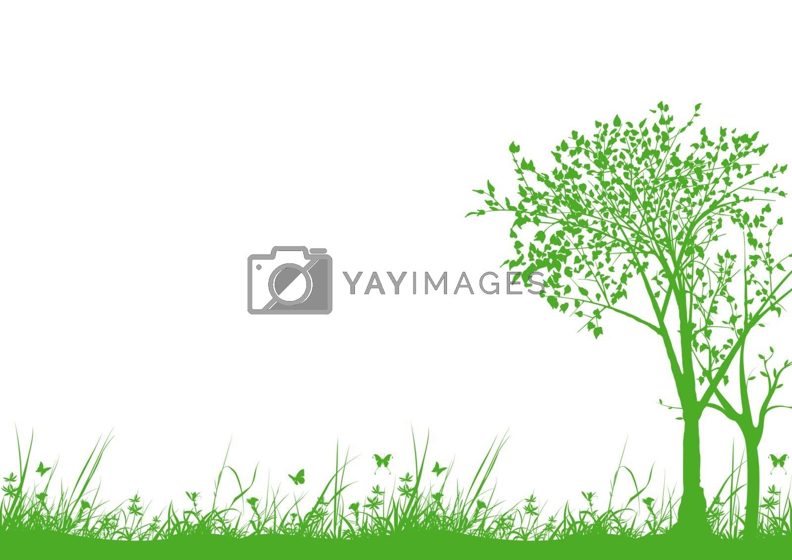 Nature Silhouettes with Grass and Trees - Background Illustration, Vector