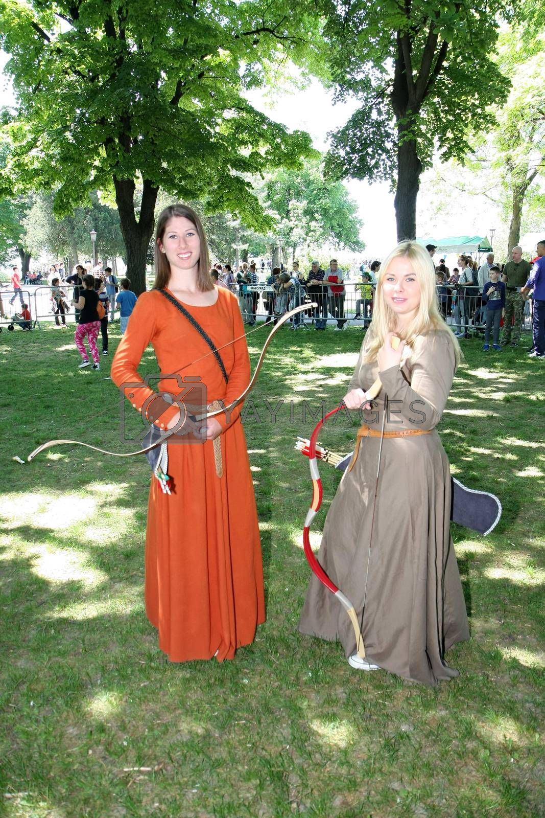 Participants of Belgrade Knight Fest held on 23 April in Belgrade,Serbia,posing in medieval clothes