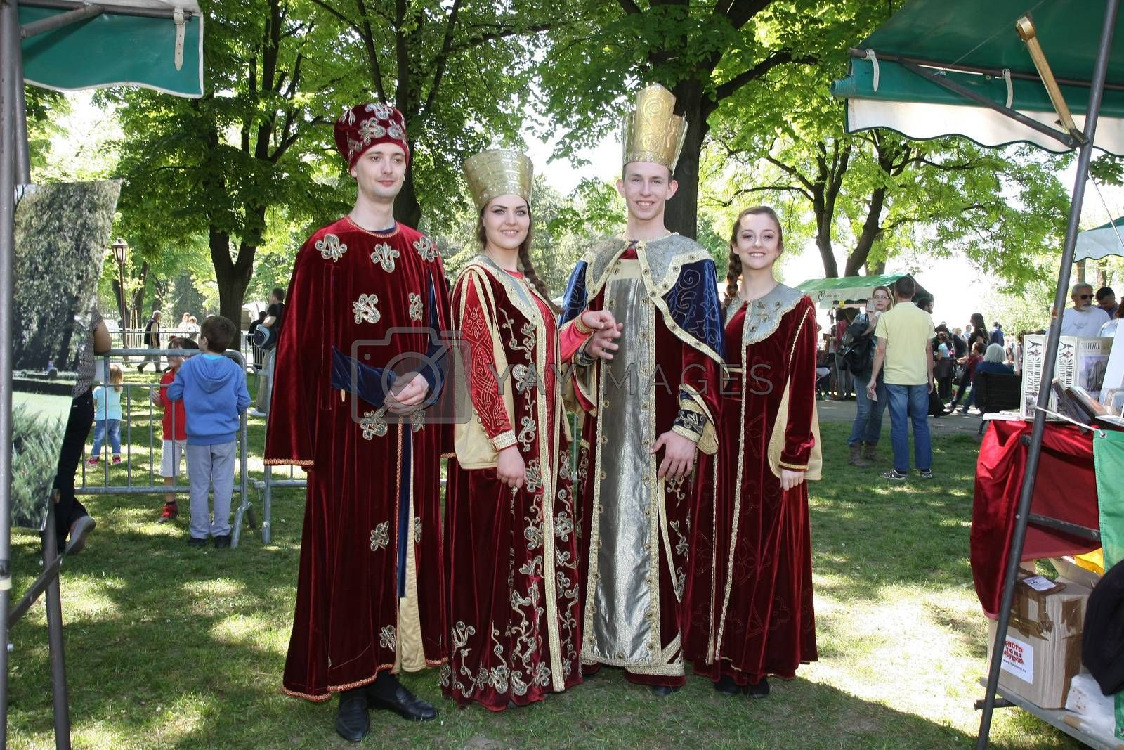 Participants of Belgrade Knight Fest held on 23 April in Belgrade,Serbia,posing in medieval court clothes