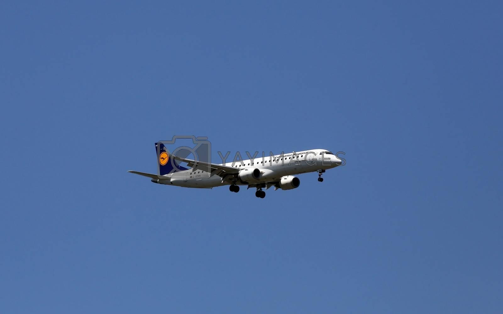 An Embraer ERJ-195, registration D-AEMA of Lufthansa CityLine landing at Zagreb Airport Pleso