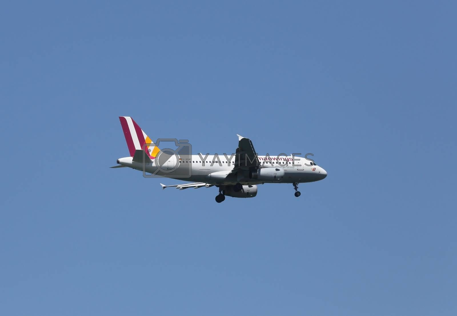 Airbus A319, registration D-AGWF of Germanwings landing on Zagreb Airport Pleso