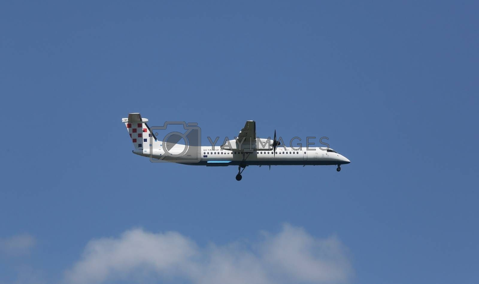 Bombardier DH8D, registration 9A-CQF of Croatia Airlines landing on Zagreb Airport Pleso