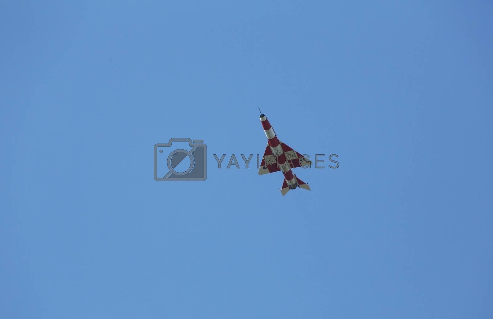 MIG-21 flies over the airport Pleso in Zagreb, Croatia