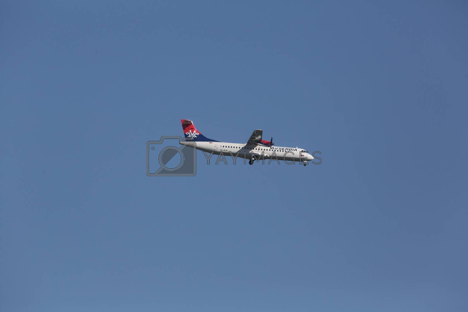 ATR 72, registration XB-IXP of Air Serbia landing on Zagreb Airport Pleso