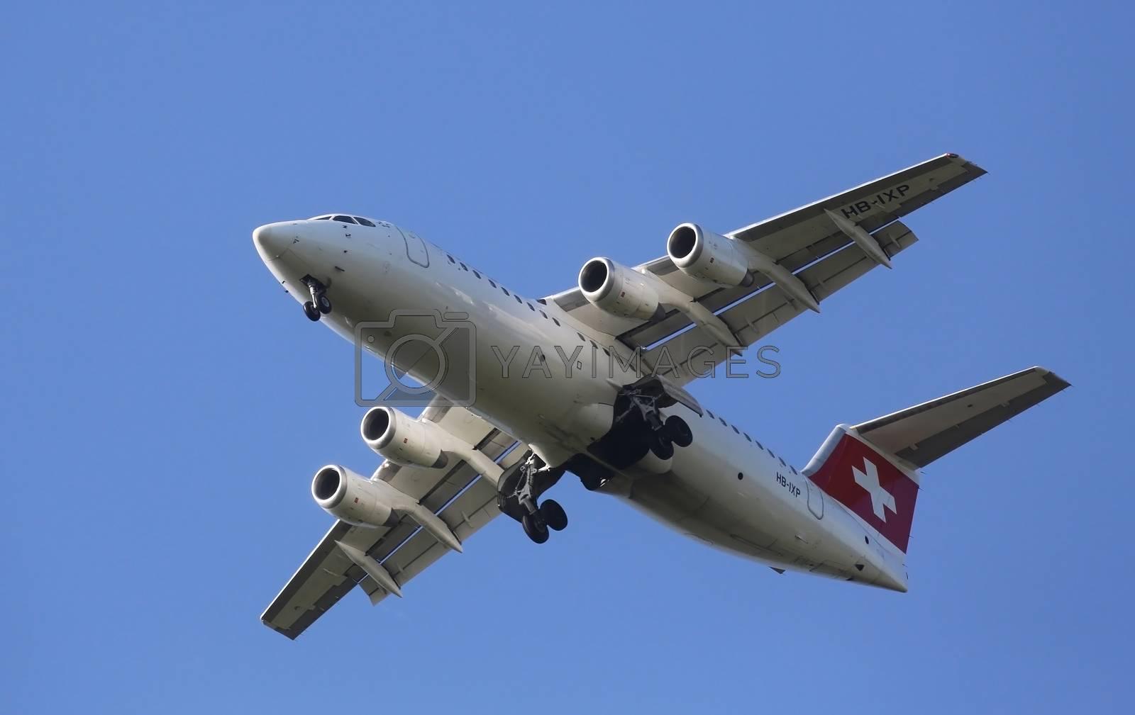 Avro RJ100, registration XB-IXP of Swiss  Airlines landing on Zagreb Airport Pleso