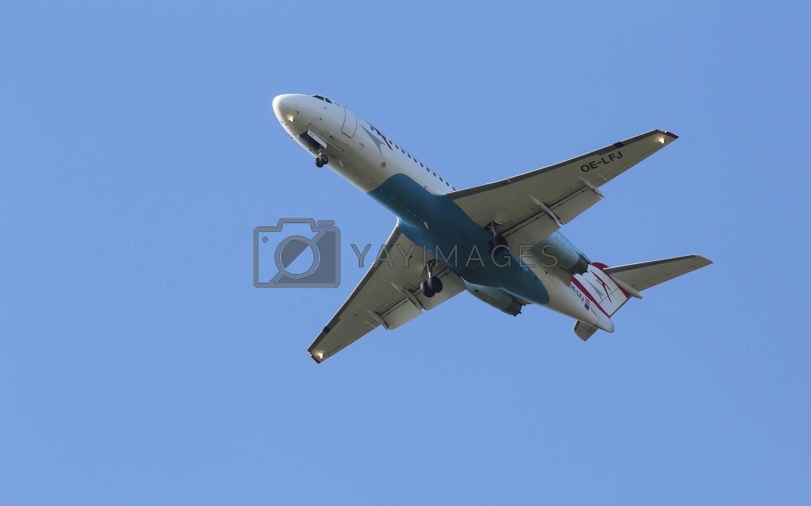 Fokker F70, registration OE-LFJ of Austrian Airlines landing on Zagreb Airport Pleso