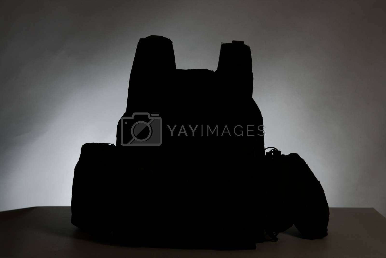 Royalty free image of Tactical Vest for army with bulletproof and ammo silhouette by mturhanlar