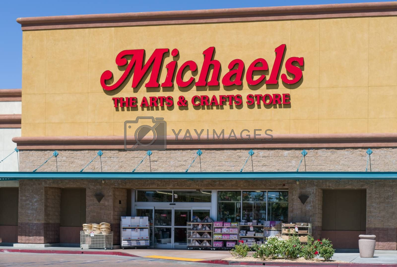 PALMDALE, CA/USA - APRIL 23, 2016: Michaels retail store exterior and sign. Michaels Stores, Inc. is a North American arts and crafts retail chain.
