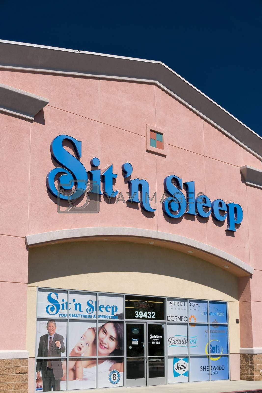 PALMDALE, CA/USA - APRIL 23, 2016: Sit 'n Sleep retail store and sign. Sit 'n Sleep is a major mattress retailer chain in the United States.
