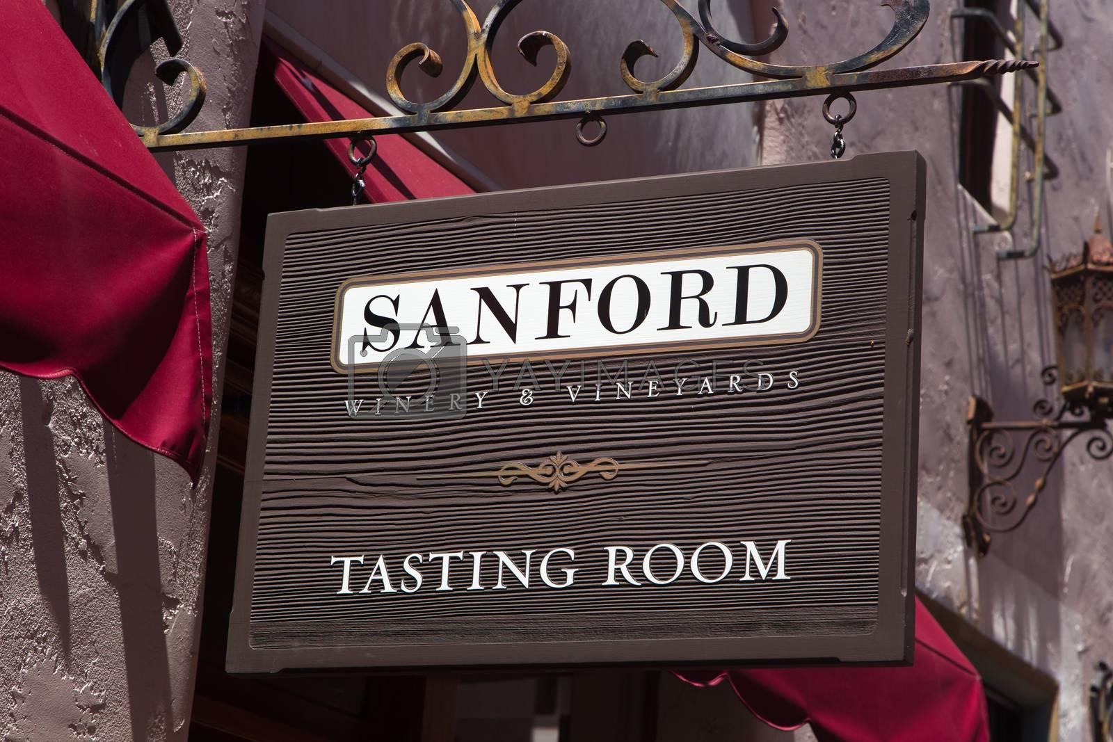 SANTA BARBARA, CA/USA - APRIL 30, 2016: Sanford Tasting Room exterior and logo. Sanford Wines are produced in Santa Barbara County, California.