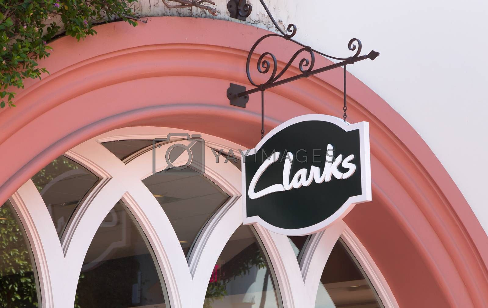 SANTA BARBARA, CA/USA - APRIL 30, 2016: Clarks retail store exterior and sign. C. & J. Clark International Ltd. is a British shoe manufacturer and retailer.