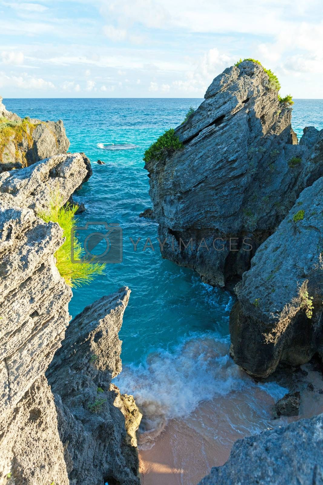 View of ocean cave rock formations located on the island of Bermuda at Jobsons Cove near Warwick Long Bay Beach