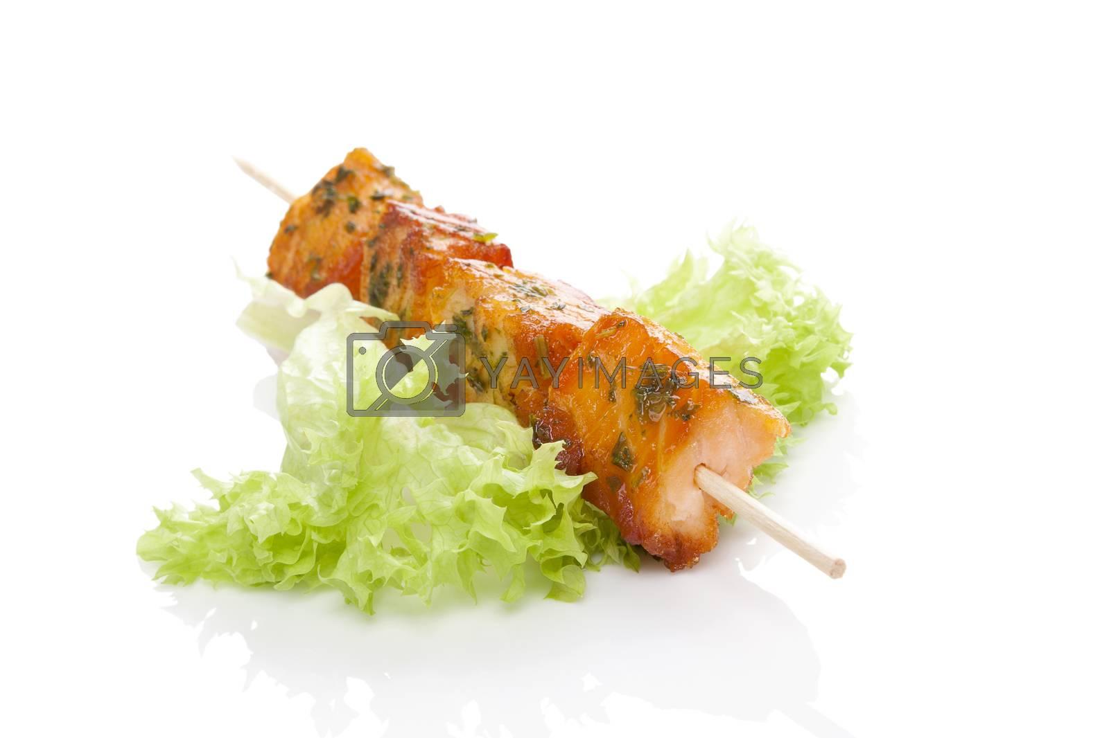 Salmon kebab and green salad. by eskymaks