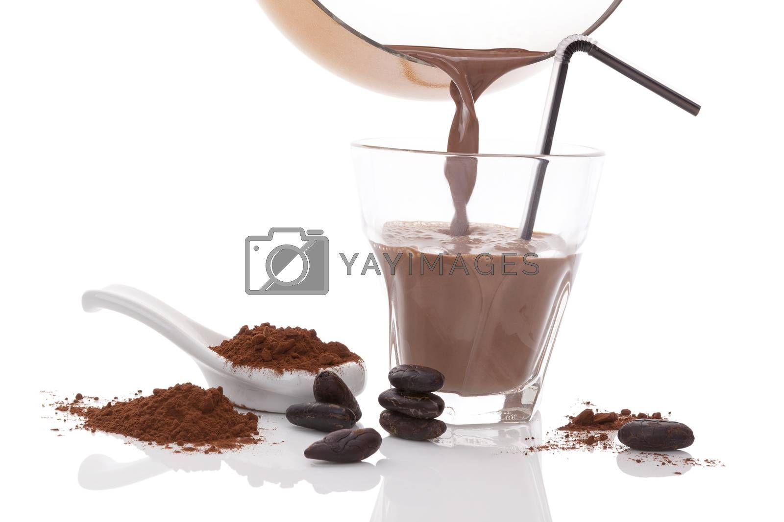 Cocoa drink, beans and powder isolated on white background. Culinary cocoa drinking