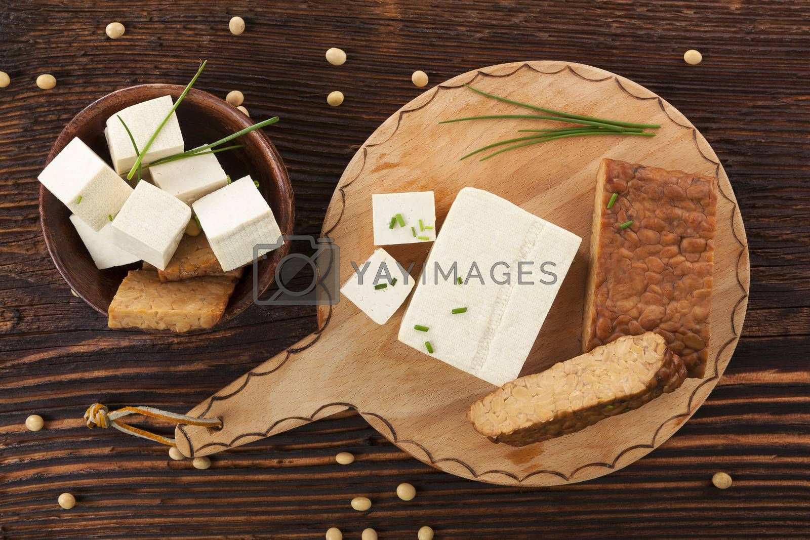 Tofu and tempeh background. by eskymaks