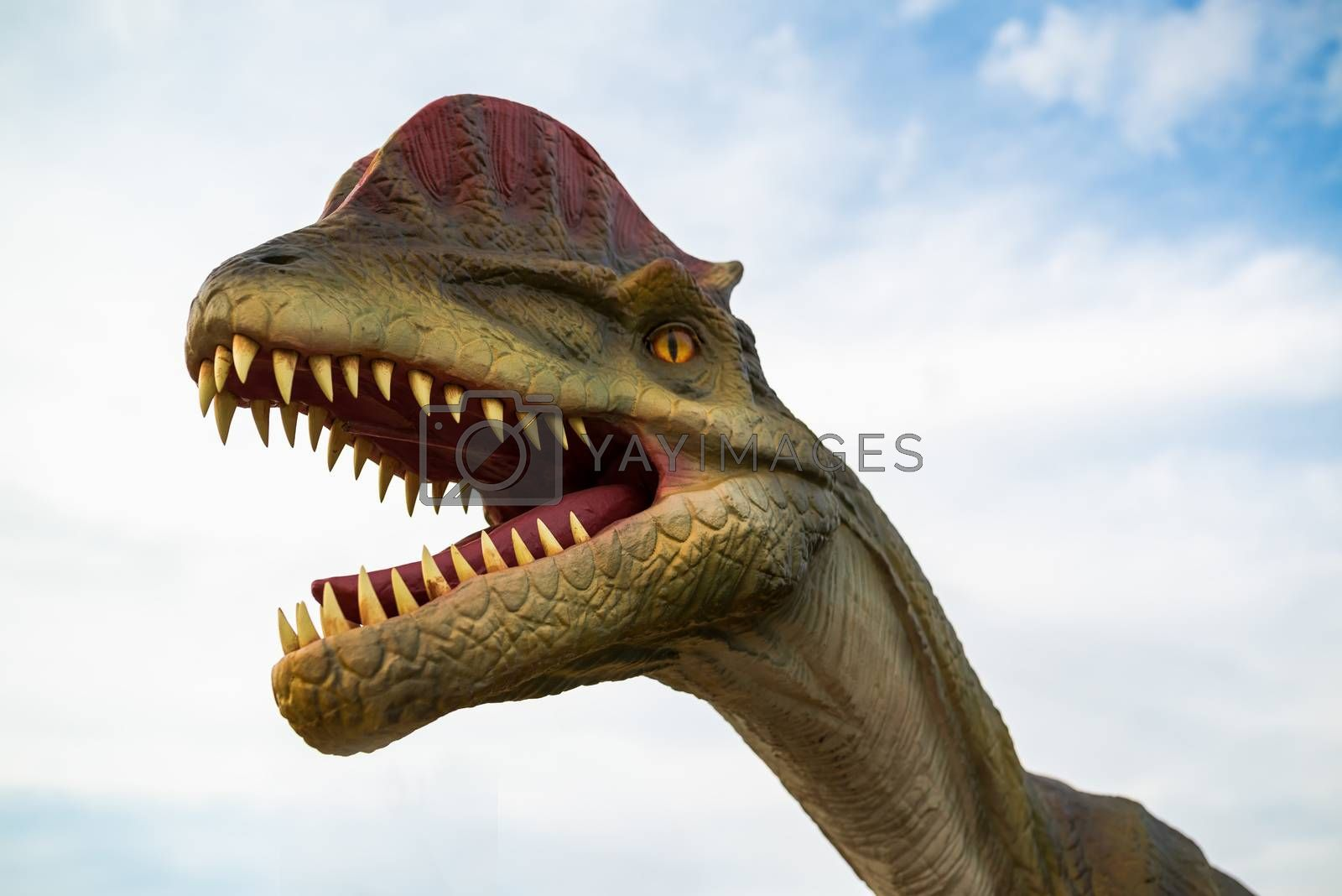 NOVI SAD, SERBIA - APRIL 28, 2016: Dilophosaurus life-size model of prehistoric animal in theme entertainment Dino Park in Novi Sad, Serbia. To date, dilophosaurus has been largest meat-eater of the early Jurassic period found.