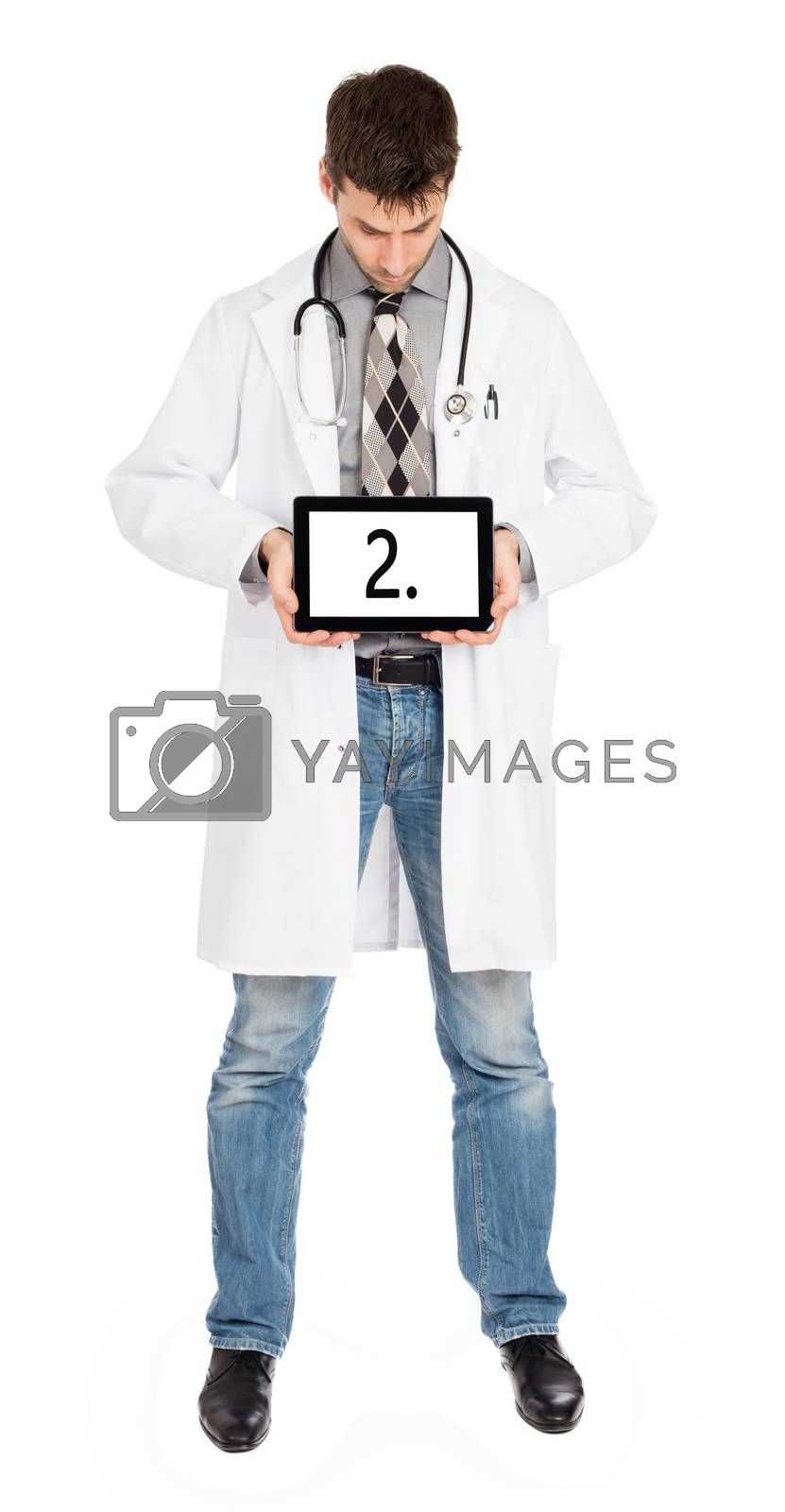 Doctor holding tablet, isolated on white - Number 2