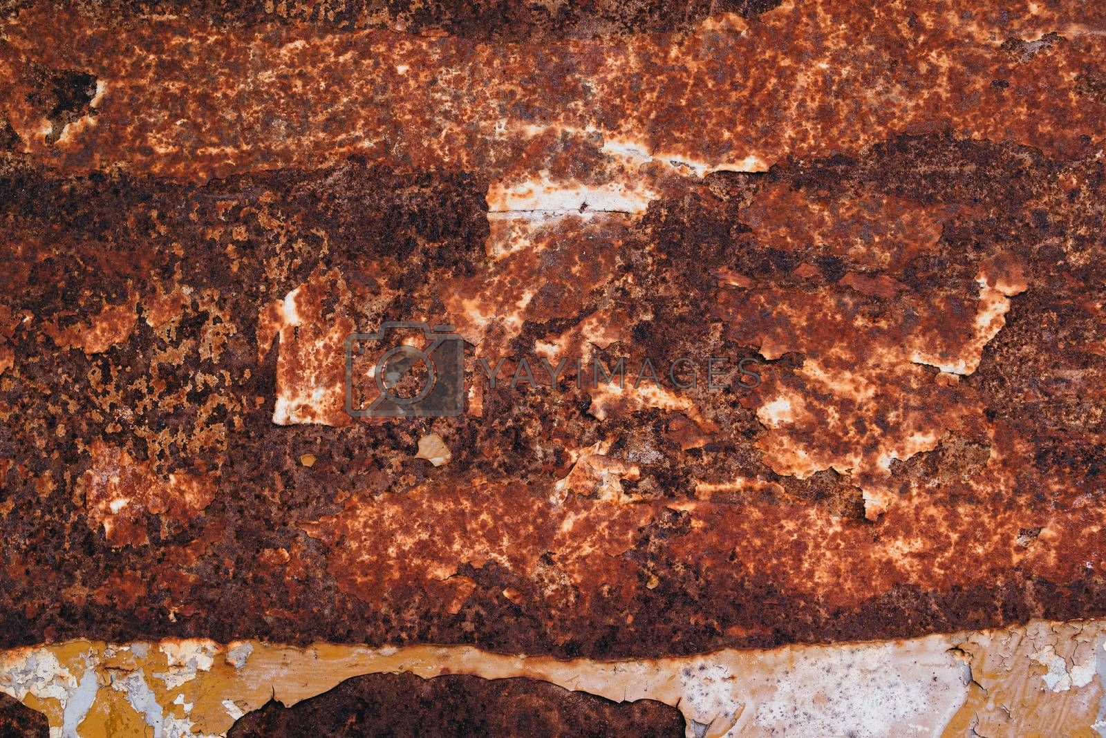 Oxidized metal plate texture, red rusty background