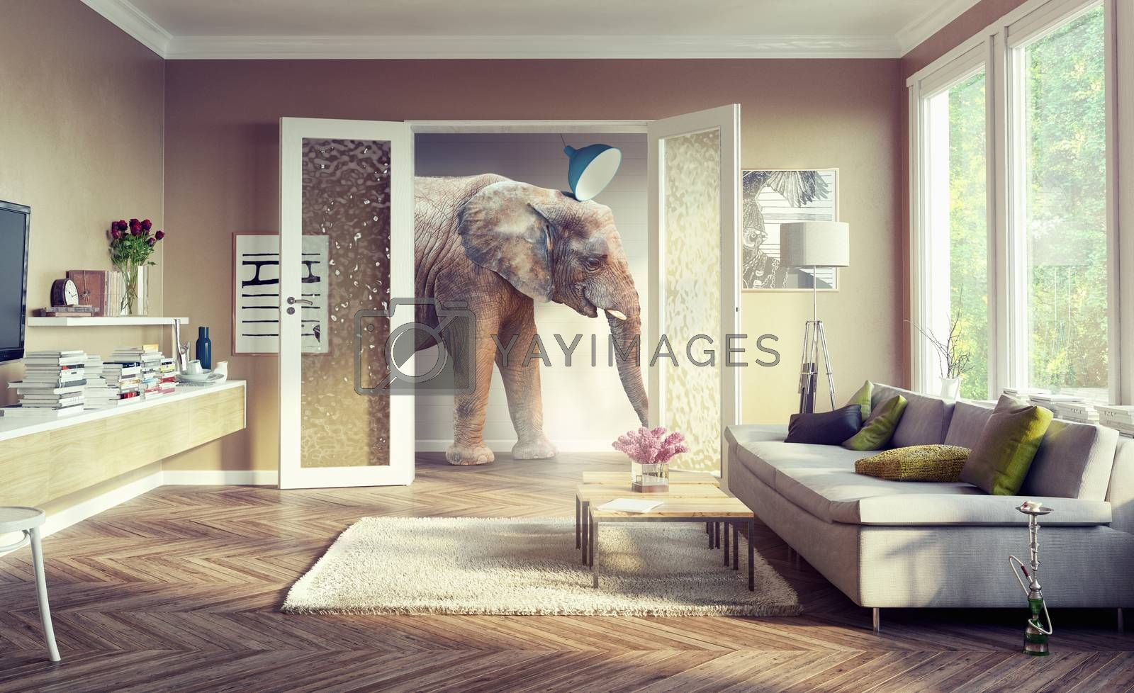 Big elephant, walking in the apartment rooms. 3d concept