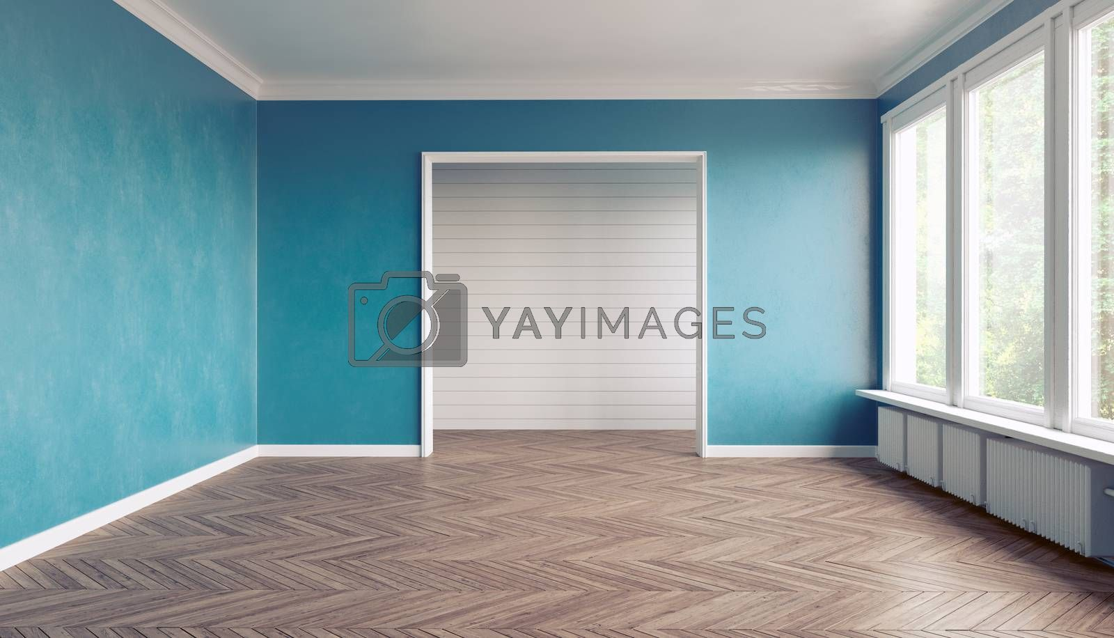Empty blue  interior. 3D interior rendering