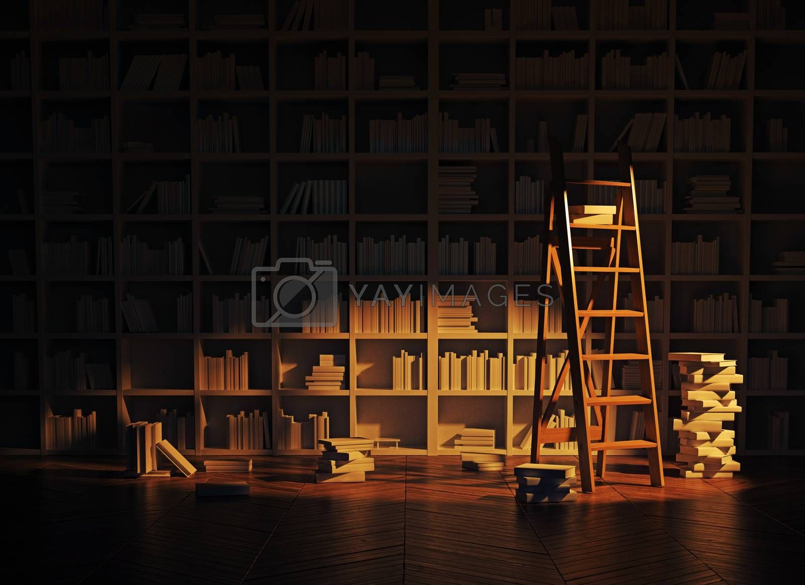 night lighting in the library interior. 3d rendering