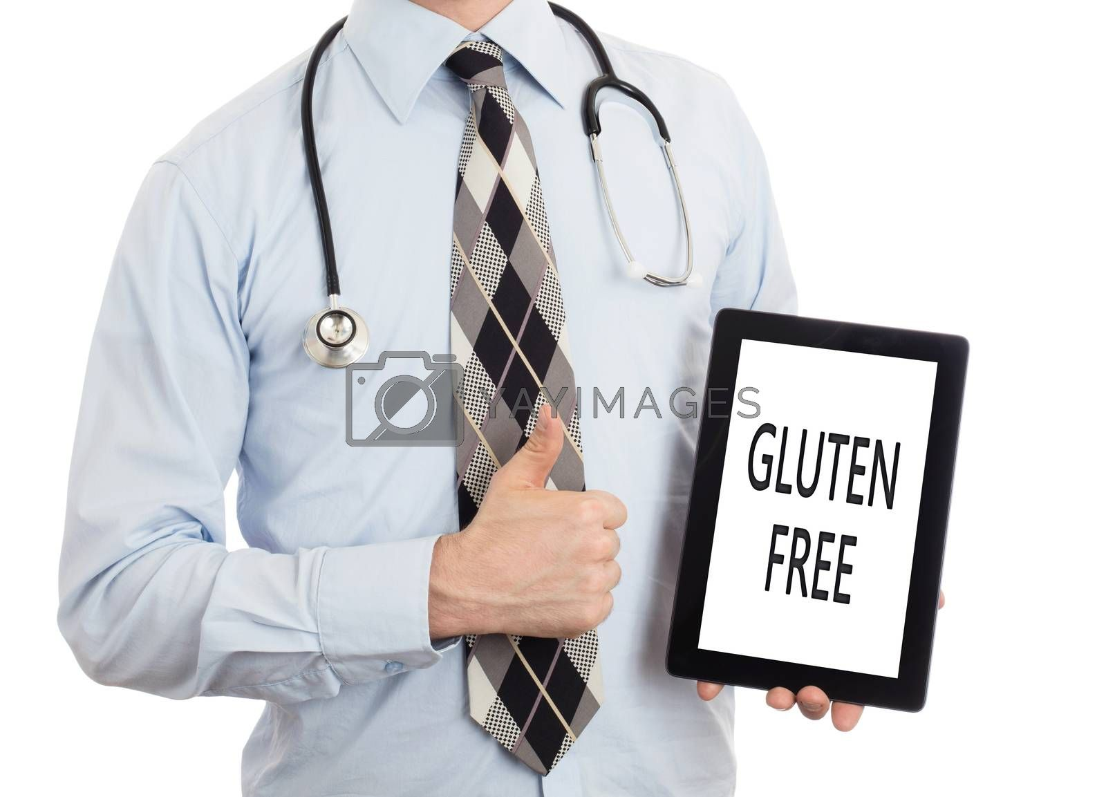 Doctor, isolated on white backgroun,  holding digital tablet - Gluten free