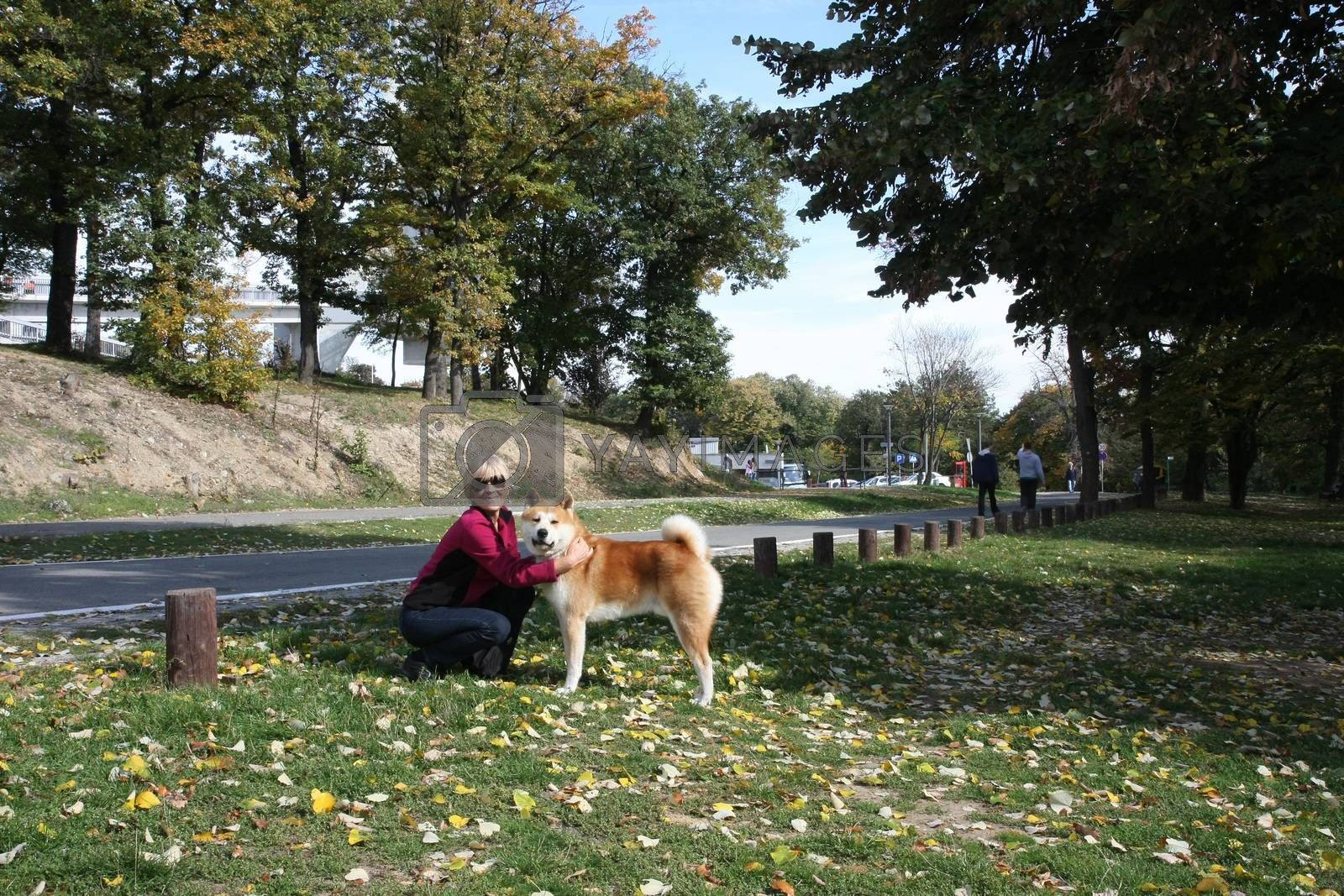 Happy lady posing with her dog Akita Inu in public park